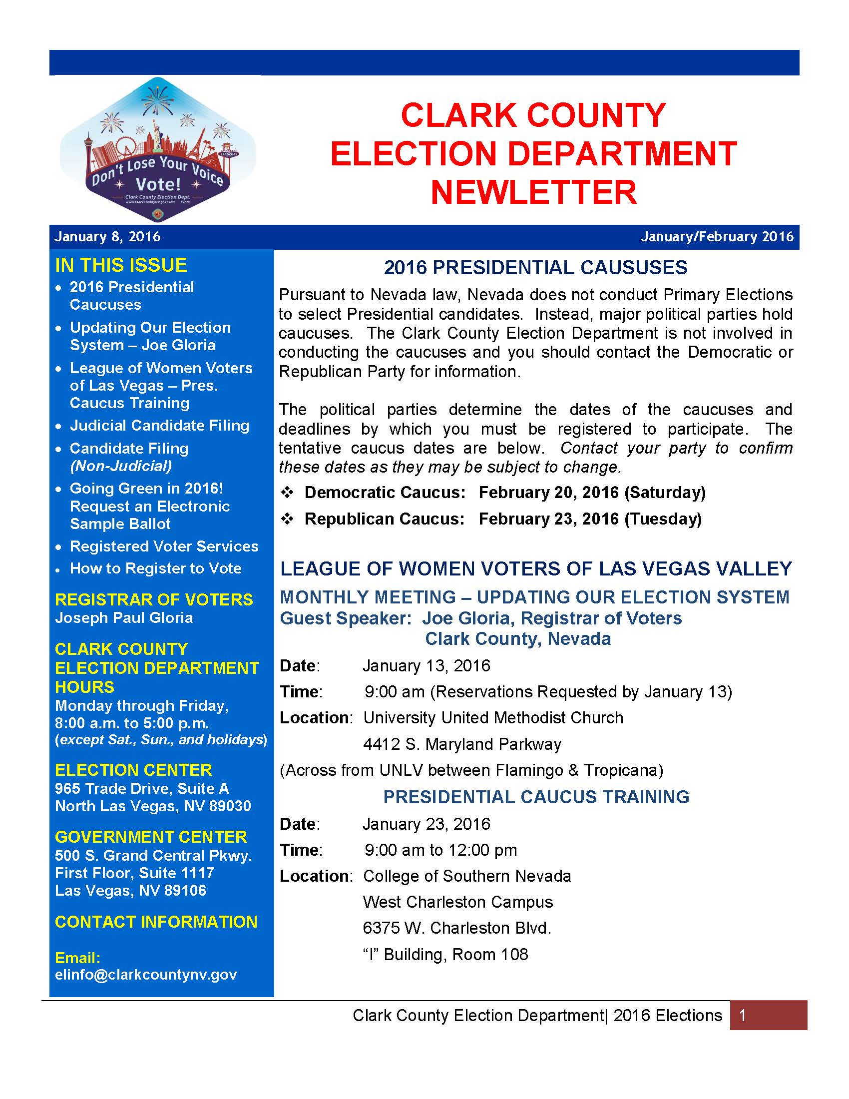 Clark County Elections Dept Newsletter | League of Women ...